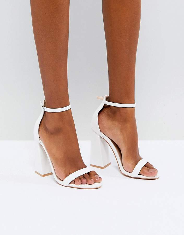 Public Desire Tess White Block Heeled Sandals