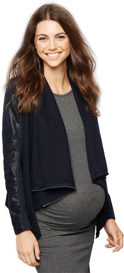 A Pea In The Pod Blank Nyc Drape Neck Faux Suede Maternity Jacket