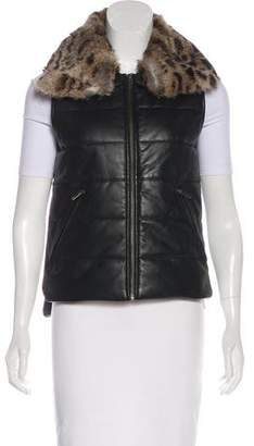 What Goes Around Comes Around Fur-Trimmed Leather Vest