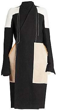 Rick Owens Women's Fur Mixed Media Patch Coat