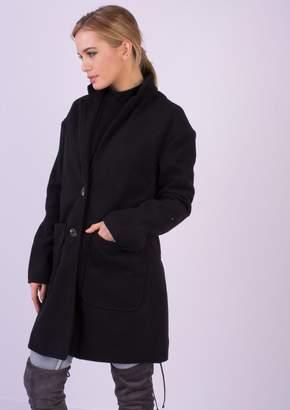 Missy Empire Missyempire Jessika Black Wool Boyfriend Coat