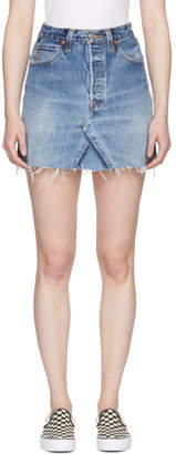 RE/DONE Indigo Levis Edition High-Rise Denim Miniskirt
