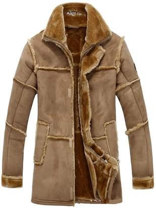 JIAX Men's Faux Fur Coat Long Jacket Outerwear Winter Warm Luxury Overcoat