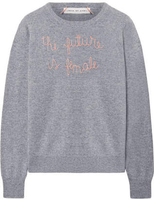 Lingua Franca - The Future Is Female Embroidered Cashmere Sweater - Gray