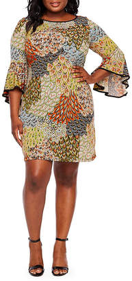 MSK Long Sleeve Printed Shift Dress - Plus