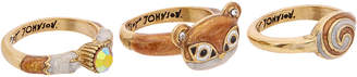 Betsey Johnson Mini Critters Cz Brown Squirrel Stacking Rings