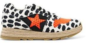 Stella McCartney Neon Mesh-Paneled Printed Canvas Espadrille Sneakers