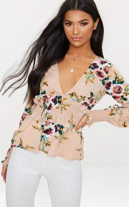 PrettyLittleThing Nude Floral Plunge Shirred Waist Blouse