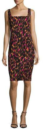 Trina Turk Bewitching Sleeveless Printed Sheath Dress, Black $328 thestylecure.com