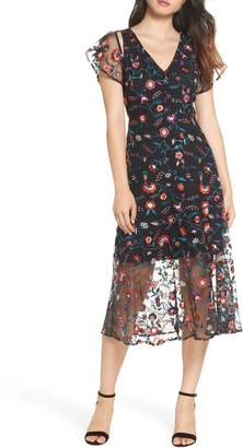 Sam Edelman Pansy Embroidered Mesh Midi Dress
