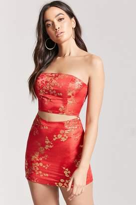 Forever 21 Metallic Floral Skirt