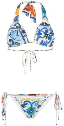 Dolce & Gabbana Printed Halter-Neck Bikini