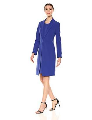Le Suit Women's Notch Collar Shinny Topper with Sheath Dress