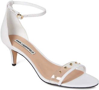 Karl Lagerfeld Paris Bright White Dixie Studded Ankle Strap Sandals