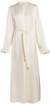 The Row Norah stand-collar tie-waist satin gown