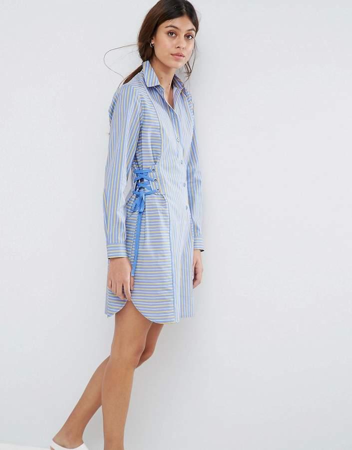 AsosASOS Striped Shirt Dress with Corset Detail