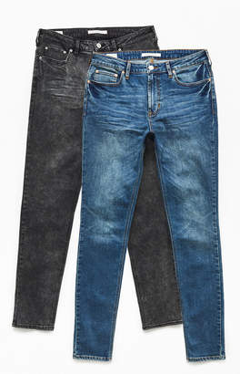 PacSun Two Pack Black & Medium Stacked Skinny Jeans