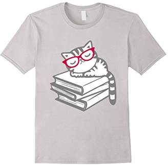Cat Book Nerd Reader with Glasses Cute Geek Funny T-Shirt