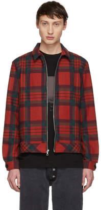 John Elliott Red Plaid Zip Jacket