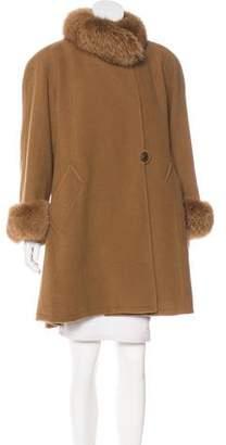 Nina Ricci Fur-Trimmed Knee-Length Coat