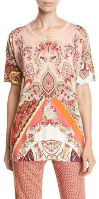 Etro Reversible Paisley-Floral Print Tunic Sweater