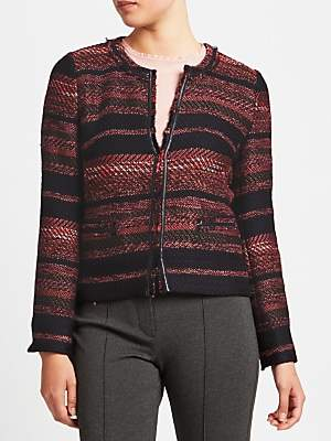 Gerry Weber Edge To Edge Textured Jacket, Indigo/Bordeaux