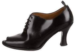 Brooks Brothers Leather Peep-Toe Booties