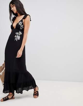 Asos DESIGN Floral Cross Stitch Embroidered Maxi Beach Dress with Pompom Trim