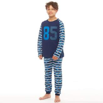 Kangaroo Poo Boys Jersey Stripe PJ Set Blue Camo/Grey