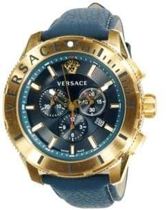 Versace Logo Stainless Steel & Leather-Strap Chronograph Watch