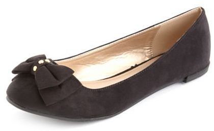 Charlotte Russe Sueded Double Bow Ballet Flat