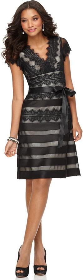 JS Collections Cap-Sleeve Lace Dress