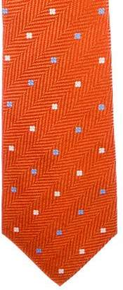 Kiton Herringbone Floral Silk Tie