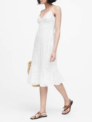 Banana Republic Petite Eyelet Midi Dress