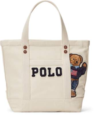 Ralph Lauren Canvas Small Polo Bear Tote