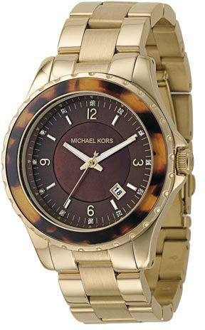 Michael Kors Tortoise-Shell Acrylic Gold IP Stainless Steel Watch