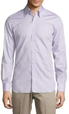 Regular Fit Geo Print Cotton Button-Down Shirt