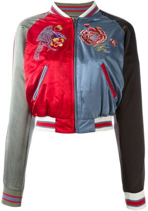 Diesel embroidered rose bomber jacket $296.51 thestylecure.com