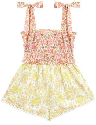 Zimmermann Goldie Shirred Tie Playsuit