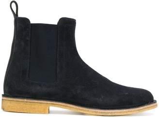 Bottega Veneta dark navy suede voortrekking boot