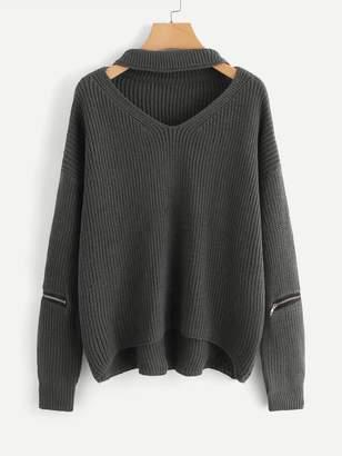 Shein V Cut Neck Zipper Detail Sweater