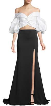 Jovani Two-Piece Dress w/ Taffeta Top & Mermaid Skirt