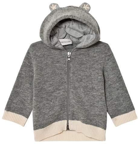 Grey Wool Cardigan with Hood