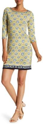 Max Studio 3/4 Length Sleeve Printed Shift Dress