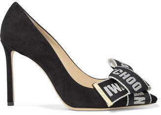 83e31cccecf Jimmy Choo Tegan 100 Logo-embroidered Canvas And Suede Pumps - Black
