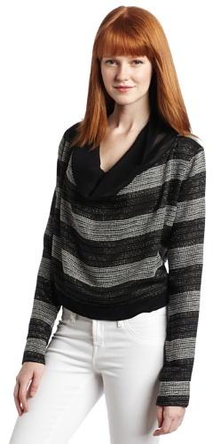 Aryn K Women's Long Sleeve Cropped Cowl Stripe Sweater