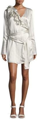 Maggie Marilyn Silk Somewhere Striped Satin Shirtdress w/ Ruffled Frills