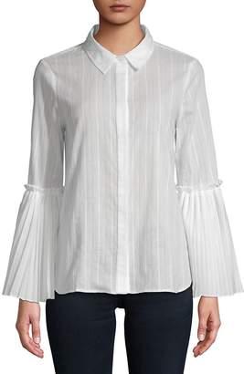 BCBGMAXAZRIA Women's Striped Woven Cotton Top