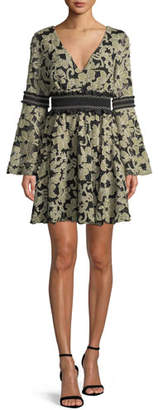 Zac Posen Mika Floral Mini Dress w/ Smocked Insets