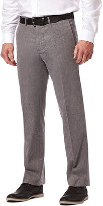 Haggar Mens Premium No-Iron Khaki Super Flex Waist Straight-Fit Stretch Flat-Front Pants